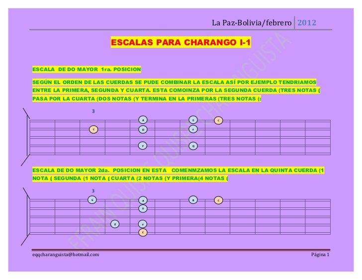 La Paz-Bolivia/febrero 2012                              ESCALAS PARA CHARANGO I-1ESCALA DE DO MAYOR 1ra. POSICIONSEGÚN EL...
