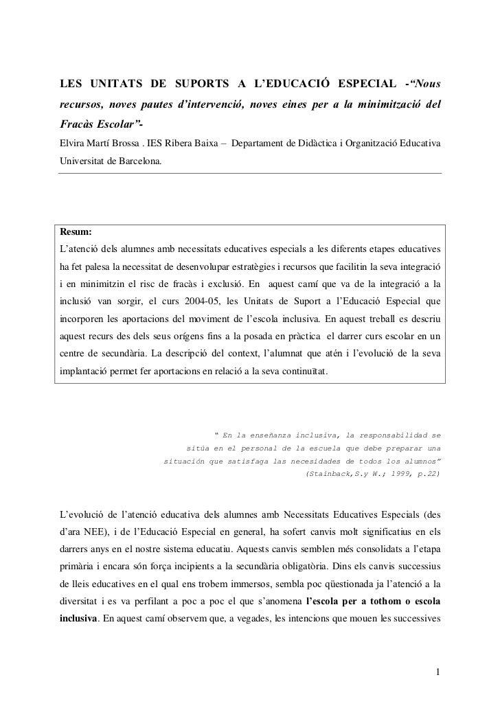 LES UNITATS DE SUPORTS A L'EDUCACIÓ ESPECIAL