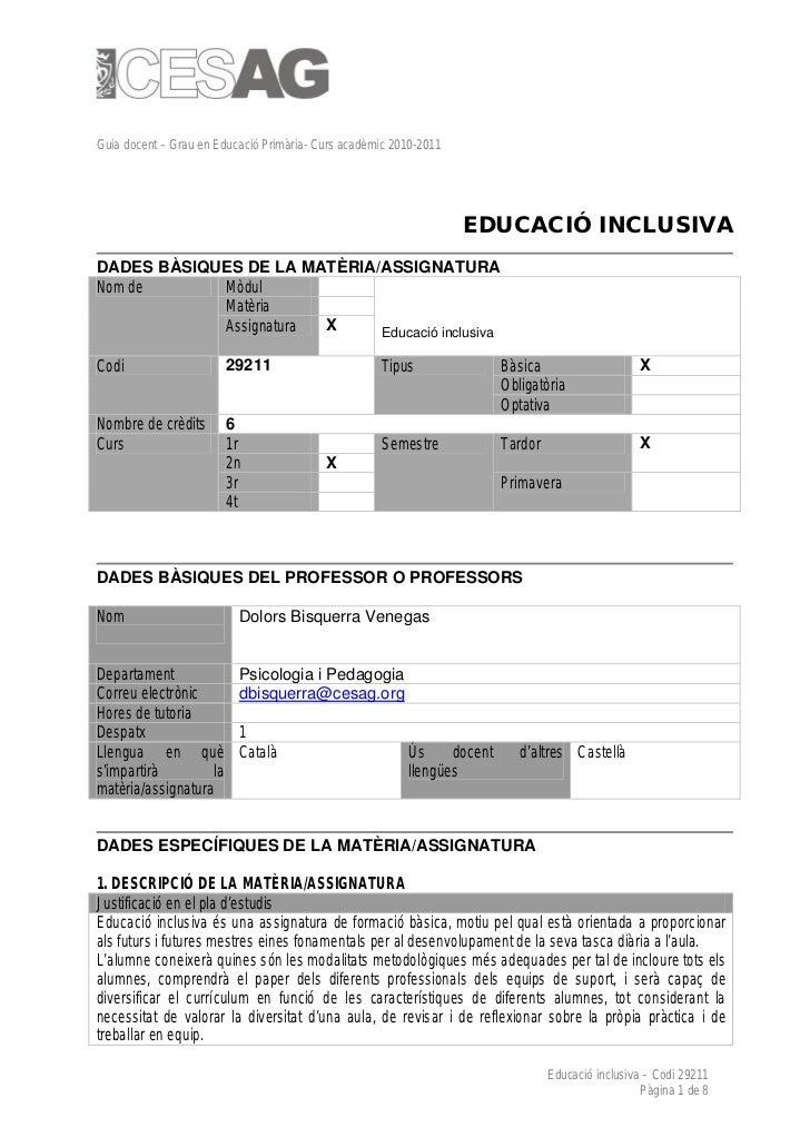 Guia docent – Grau en Educació Primària- Curs acadèmic 2010-2011                                                          ...