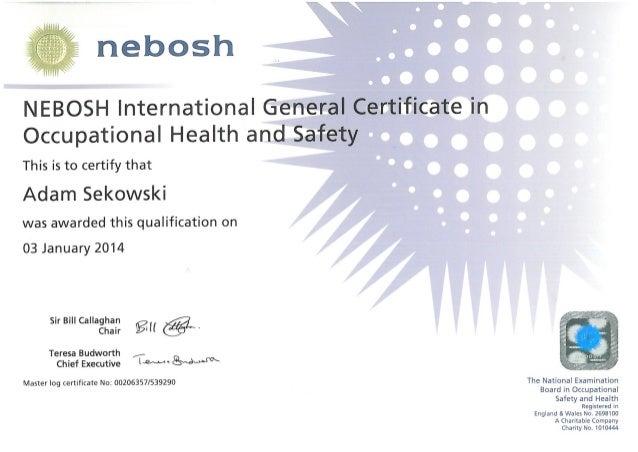 Adam Sekowski NEBOSH International General Certificate In