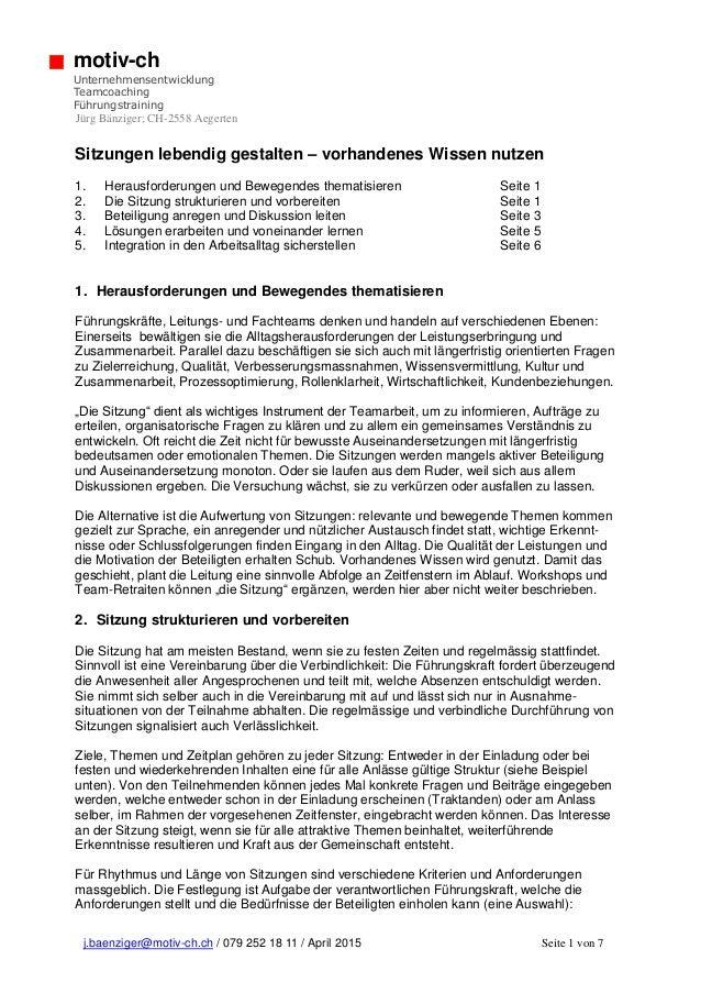 j.baenziger@motiv-ch.ch / 079 252 18 11 / April 2015 Seite 1 von 7 motiv-ch Unternehmensentwicklung Teamcoaching Führungst...