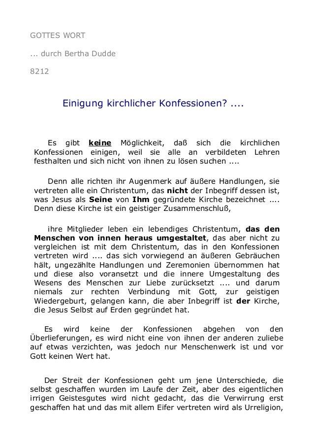 GOTTES WORT ... durch Bertha Dudde 8212 Einigung kirchlicher Konfessionen? .... Es gibt keine Möglichkeit, daß sich die ki...