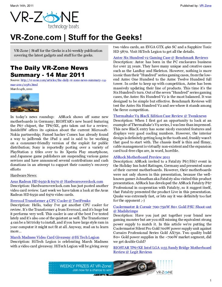 VR-Zone Technology News | Stuff for the Geeks! Issue #12