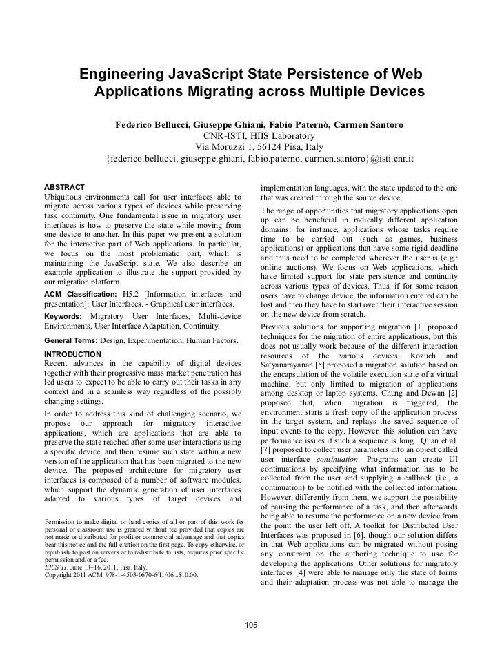 Engineering JavaScript State Persistence of Web                Applications Migrating across Multiple Devices             ...