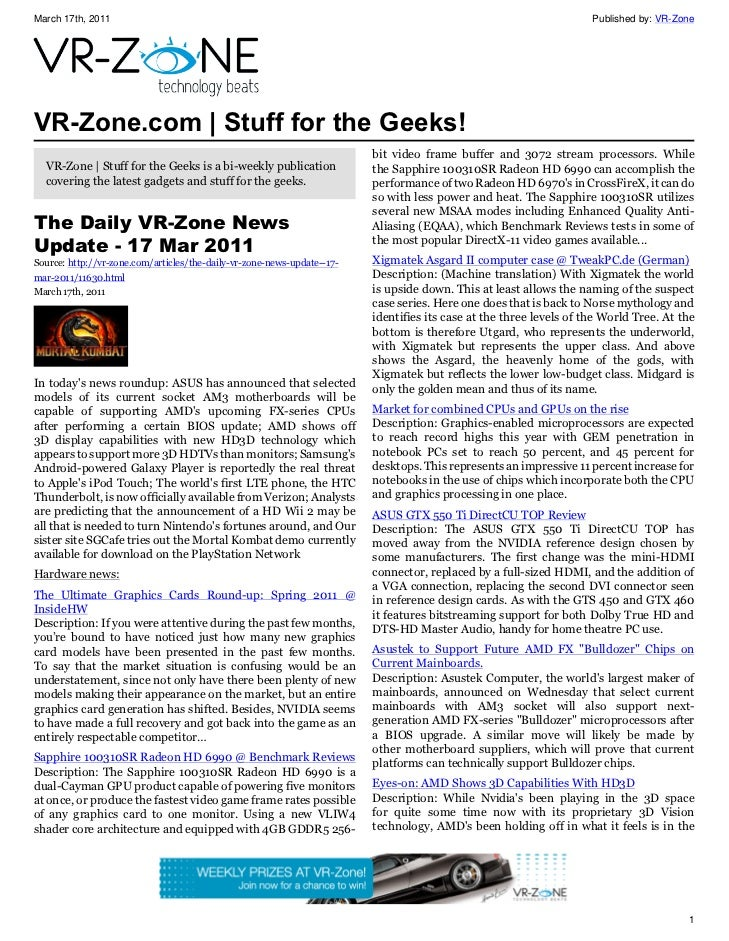 VR-Zone Technology News | Stuff for the Geeks! Issue #13
