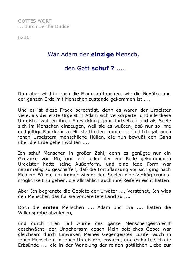 GOTTES WORT ... durch Bertha Dudde 8236 War Adam der einzige Mensch, den Gott schuf ? .... Nun aber wird in euch die Frage...