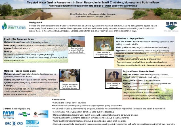 Targeted Water Quality Assessment in Small Reservoirs in Brazil, Zimbabwe, Morocco and Burkina Faso:                      ...