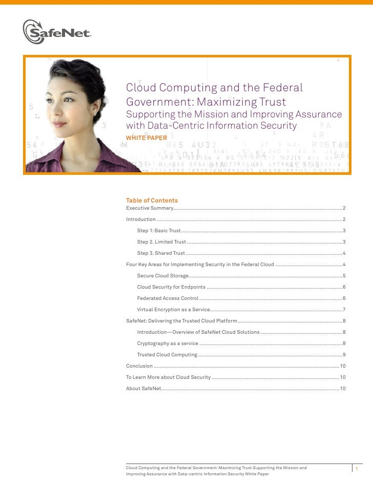 Cloud Computing and the FederalGovernment: Maximizing TrustSupporting the Mission and Improving Assurancewith Data-Centric...