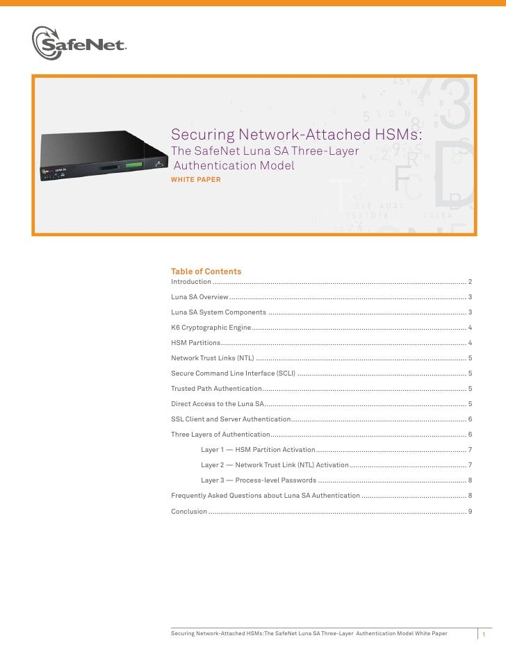 Securing Network-Attached HSMs:The SafeNet Luna SA Three-LayerAuthentication ModelWHITE PAPERTable of ContentsIntroduction...