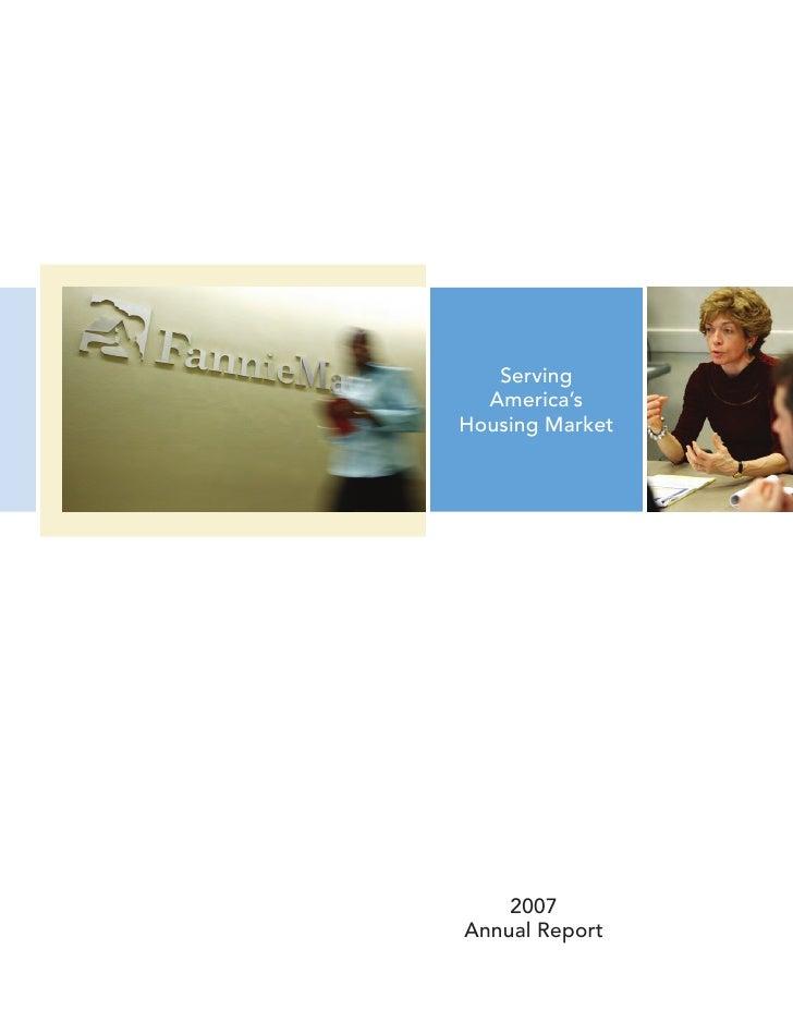 Fannie Mae Annual Report 2007