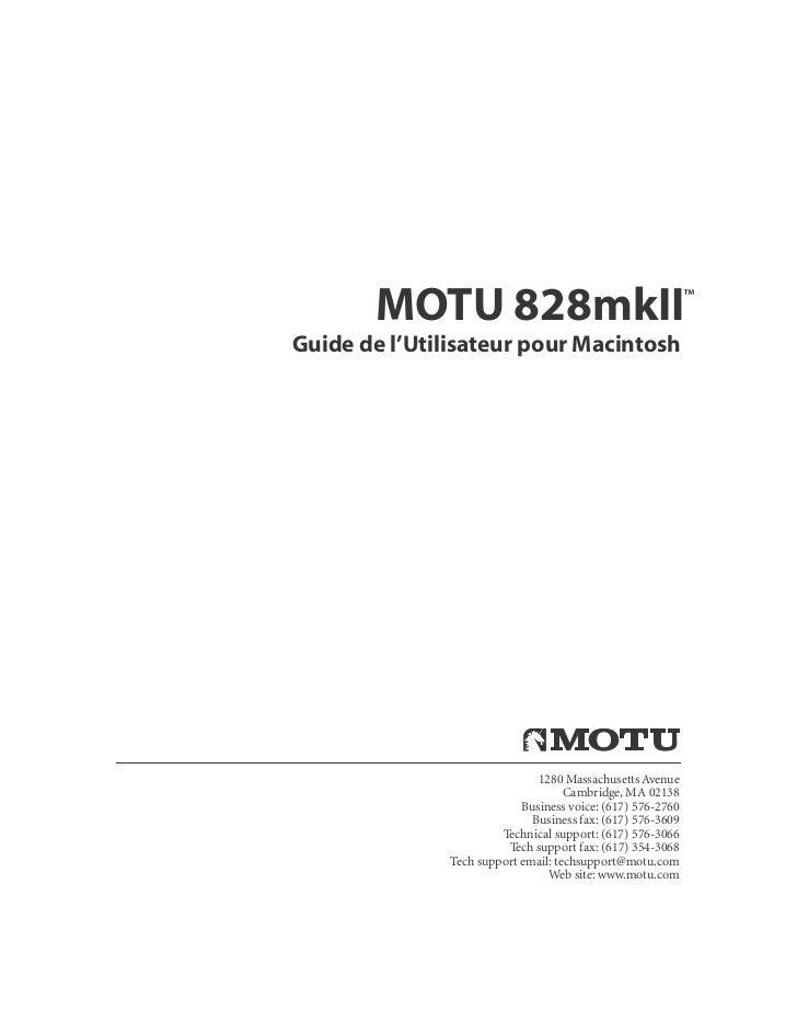 MOTU 828mkII                                          ™Guide de l'Utilisateur pour Macintosh                              ...