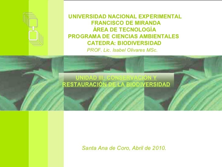 UNIVERSIDAD NACIONAL EXPERIMENTAL       FRANCISCO DE MIRANDA        ÁREA DE TECNOLOGÍA PROGRAMA DE CIENCIAS AMBIENTALES   ...