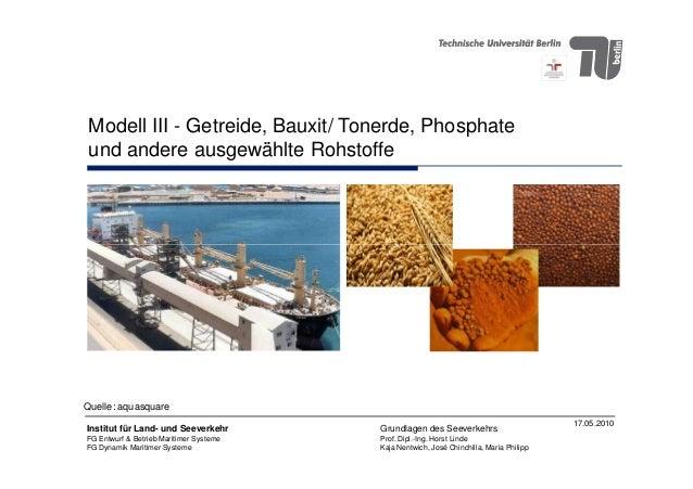 Modell III - Getreide, Bauxit/ Tonerde, Phosphate und andere ausgewählte Rohstoffe 17.05.2010 Institut für Land- und Seeve...
