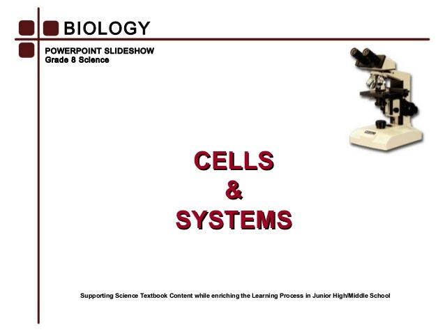 POWERPOINT SLIDESHOW Grade 8 Science CELLSCELLS && SYSTEMSSYSTEMS BIOLOGY Supporting Science Textbook Content while enrich...