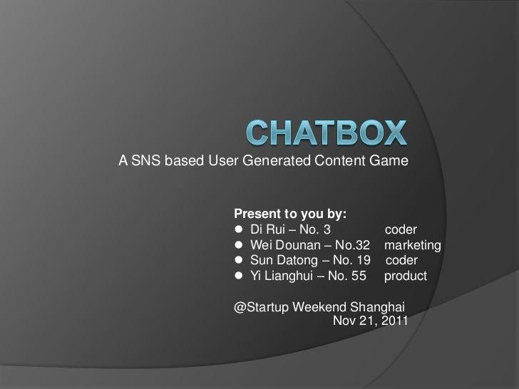 ChatBox - Startup Weekend Shanghai November 2011