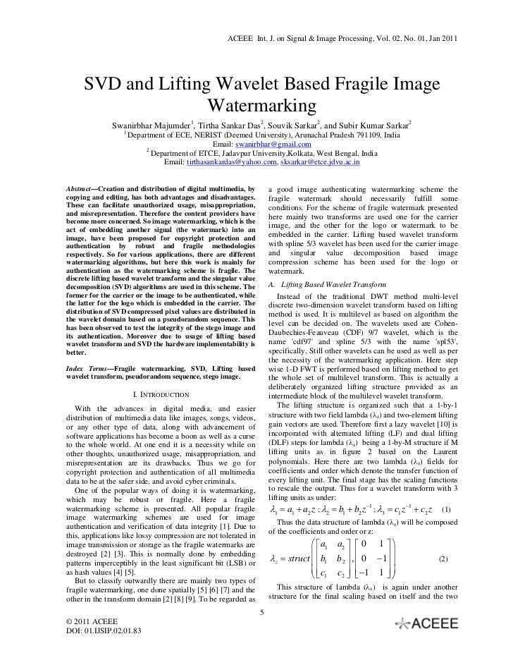 SVD and Lifting Wavelet Based Fragile Image Watermarking