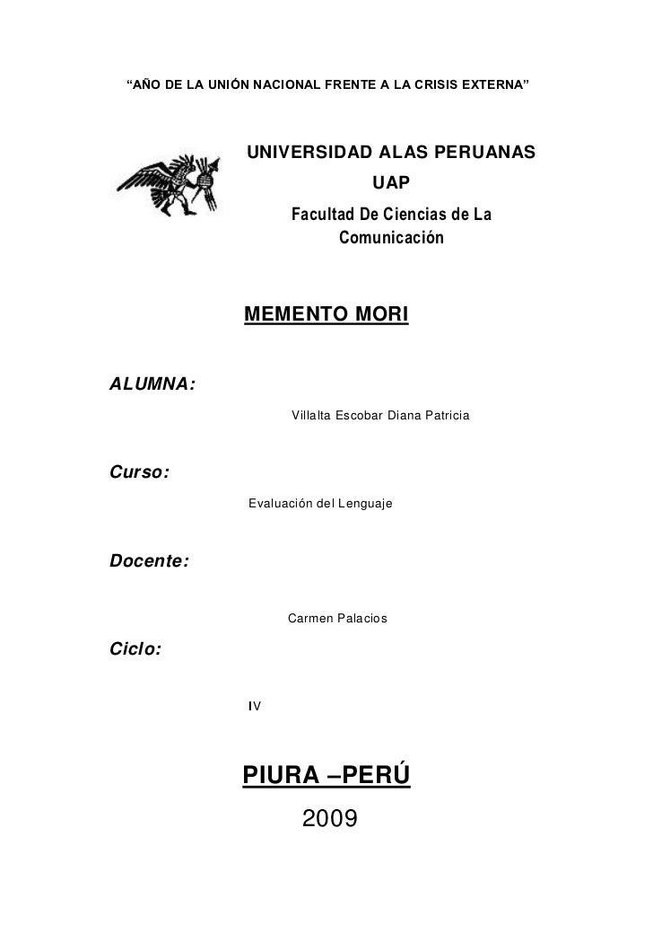 """""""AÑO DE LA UNIÓN NACIONAL FRENTE A LA CRISIS EXTERNA""""                 UNIVERSIDAD ALAS PERUANAS                           ..."""