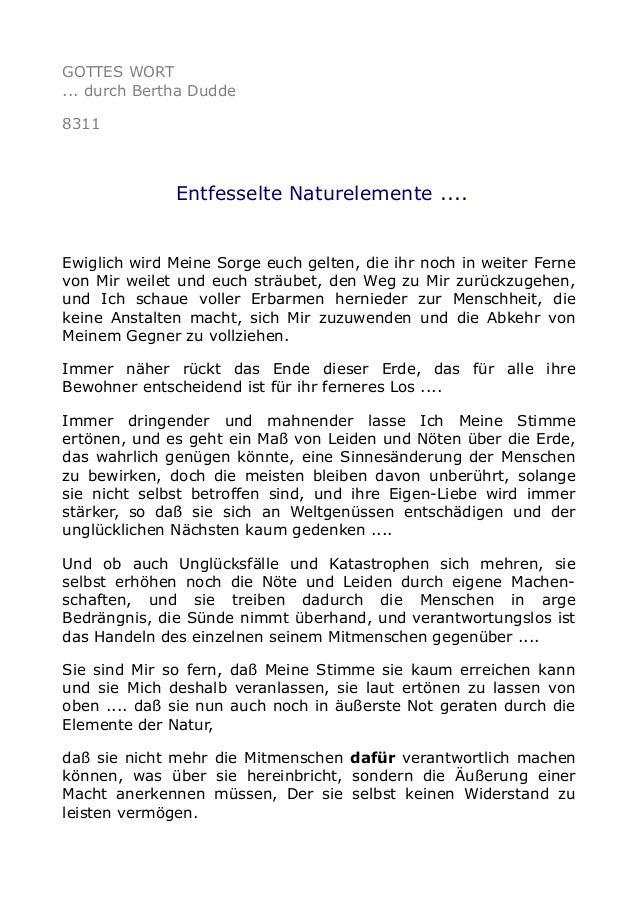 GOTTES WORT ... durch Bertha Dudde 8311 Entfesselte Naturelemente .... Ewiglich wird Meine Sorge euch gelten, die ihr noch...