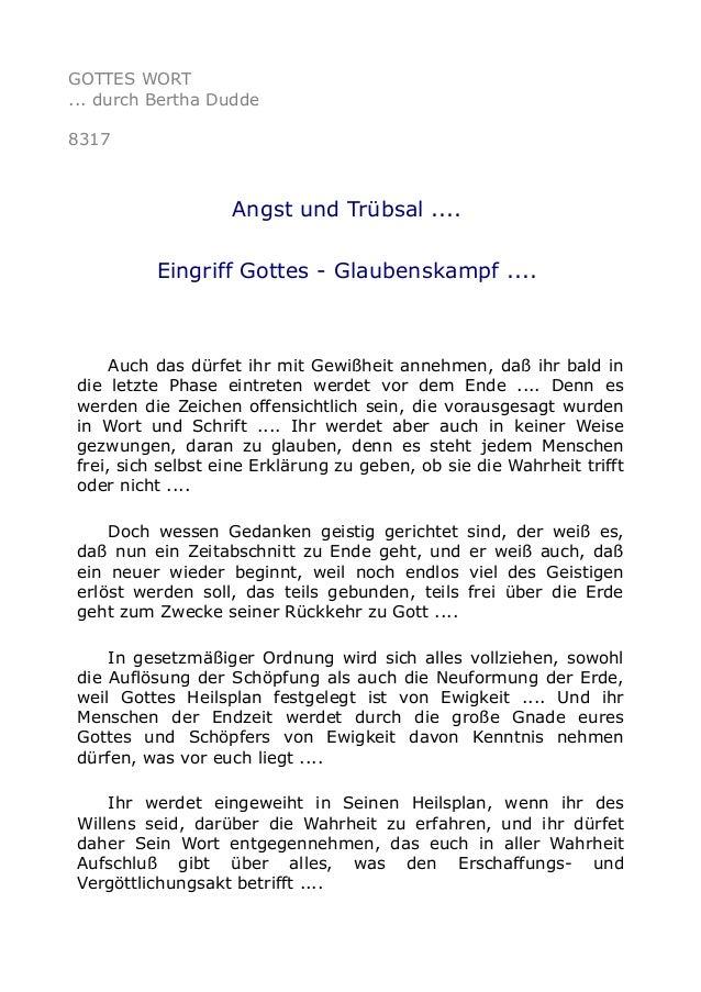 GOTTES WORT ... durch Bertha Dudde 8317 Angst und Trübsal .... Eingriff Gottes - Glaubenskampf .... Auch das dürfet ihr mi...