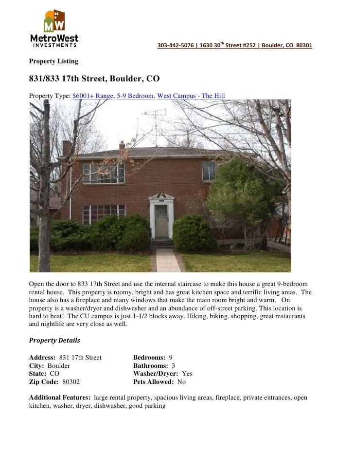 Property Listing<br />831/833 17th Street, Boulder, CO<br />Property Type: $6001+ Range, 5-9 Bedroom, West Campus - The Hi...