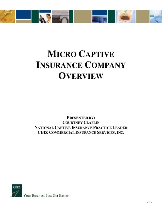 - 1 - Your Business Just Got Easier. MICRO CAPTIVE INSURANCE COMPANY OVERVIEW PRESENTED BY: COURTNEY CLAFLIN NATIONAL CAPT...