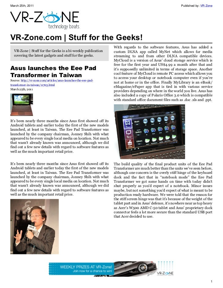 VR-Zone Technology News | Stuff for the Geeks! Issue #15