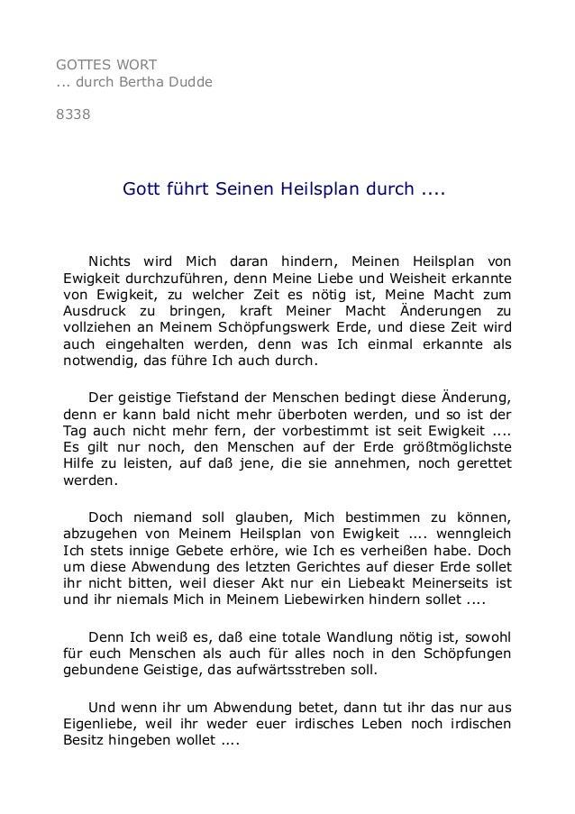 GOTTES WORT ... durch Bertha Dudde 8338 Gott führt Seinen Heilsplan durch .... Nichts wird Mich daran hindern, Meinen Heil...