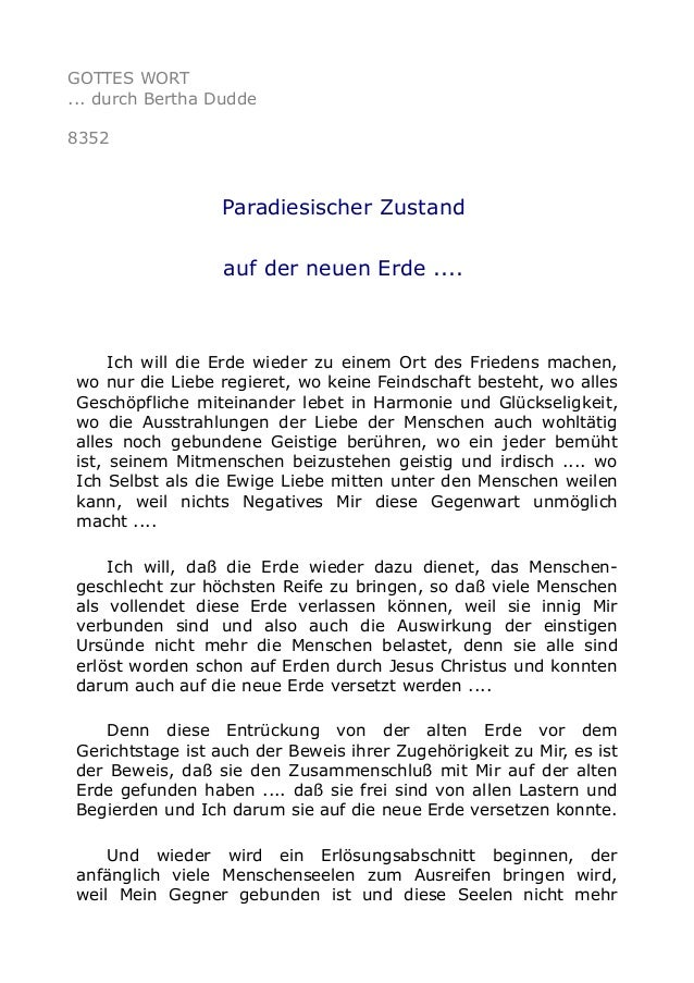 GOTTES WORT ... durch Bertha Dudde 8352 Paradiesischer Zustand auf der neuen Erde .... Ich will die Erde wieder zu einem O...