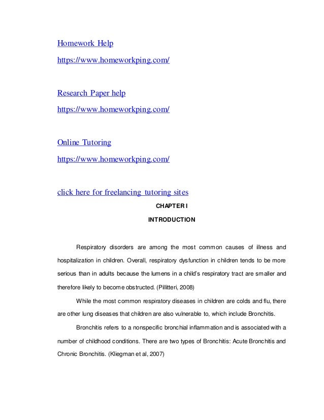Chronic bronchitis research papers