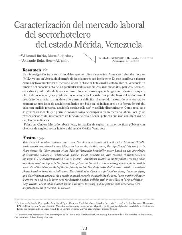 Caracterización del mercado laboral del sector hotelero del estado ...