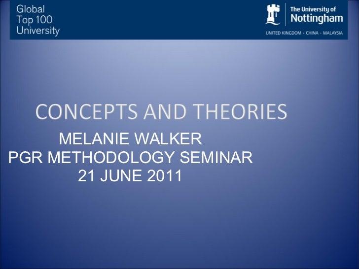 MELANIE WALKER PGR METHODOLOGY SEMINAR 21 JUNE 2011