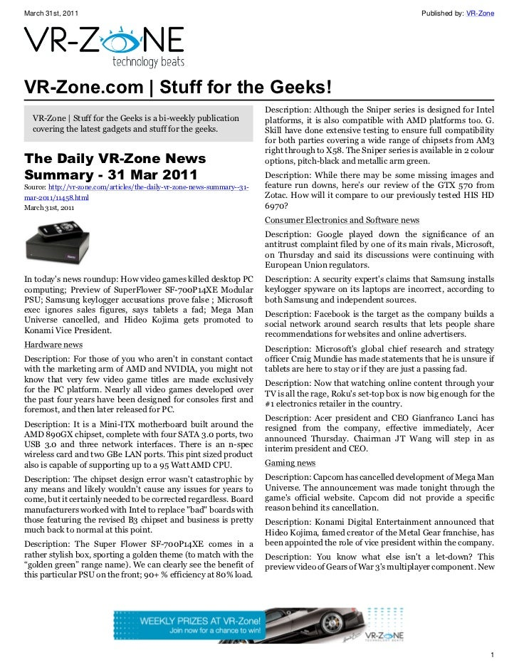 VR-Zone Technology News | Stuff for the Geeks! Issue #17