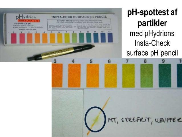 pH-spottest af partikler med pHydrions Insta-Check surface pH pencil