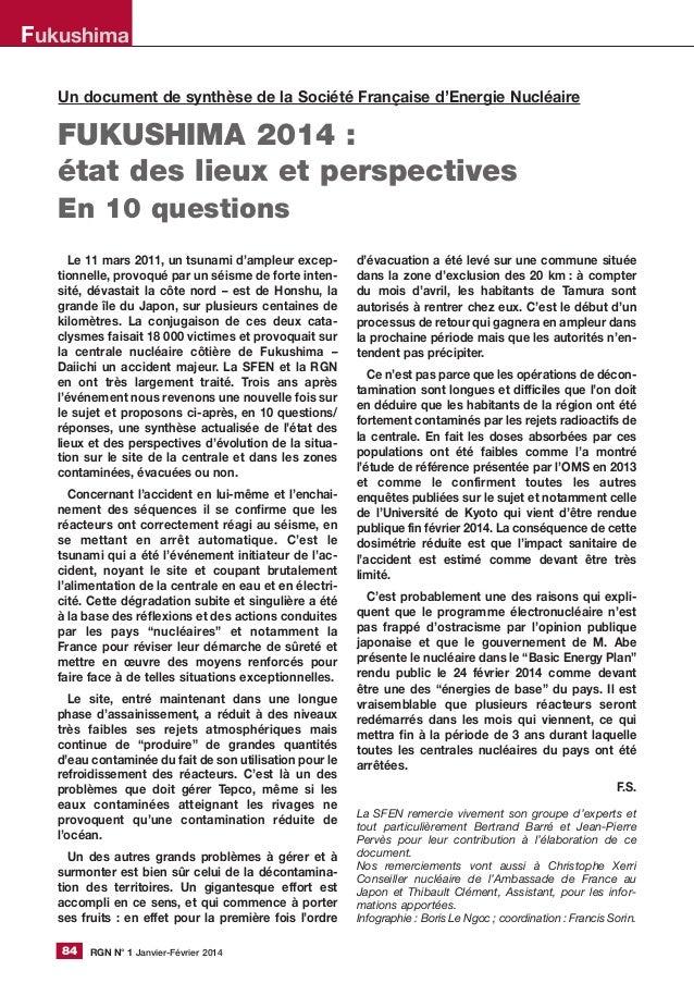 RGN N° 1 Janvier-Février 201484 Un document de synthèse de la Société Française d'Energie Nucléaire FUKUSHIMA 2014 : état ...