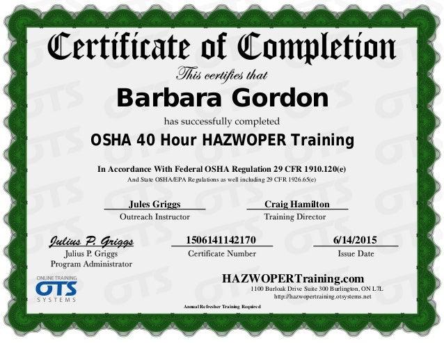 HAZWOPERTraining.com1100 Burloak Drive Suite 300 Burlington, ON ...