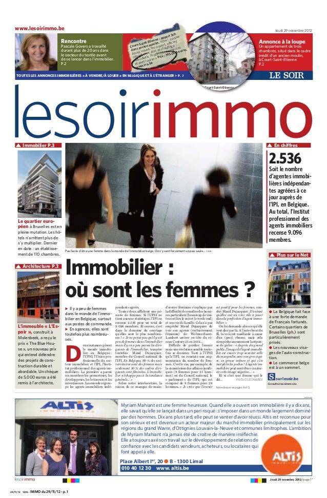 28/11/12 12:46 - IMMO du 29/11/12 - p. 1 Plus sur le Net ̈ Il y a peu de femmes dans le monde de l'immo- bilier en Belgiqu...
