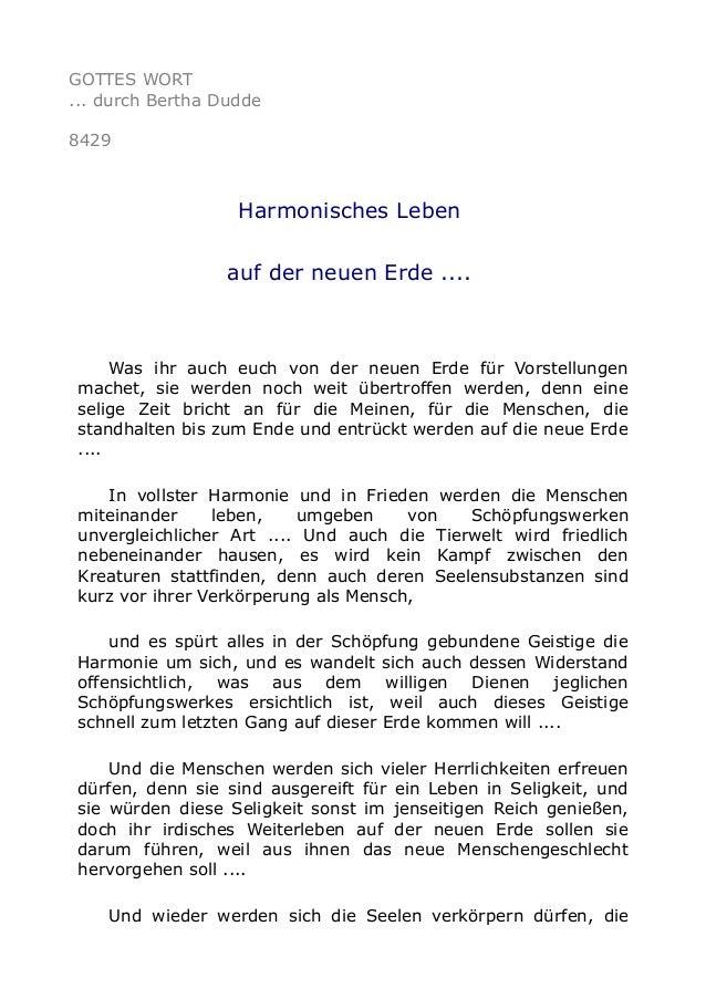 GOTTES WORT ... durch Bertha Dudde 8429 Harmonisches Leben auf der neuen Erde .... Was ihr auch euch von der neuen Erde fü...
