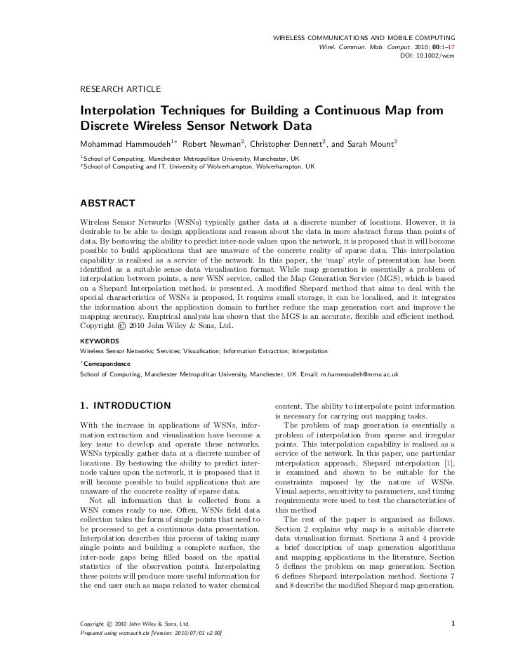 Interpolation Techniques for Building a Continuous Map from Discrete Wireless Sensor Network Data