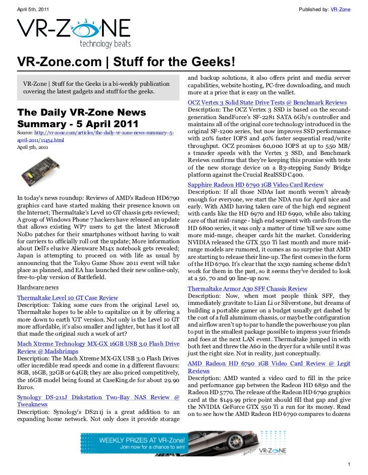 VR-Zone Technology News | Stuff for the Geeks! Issue #18