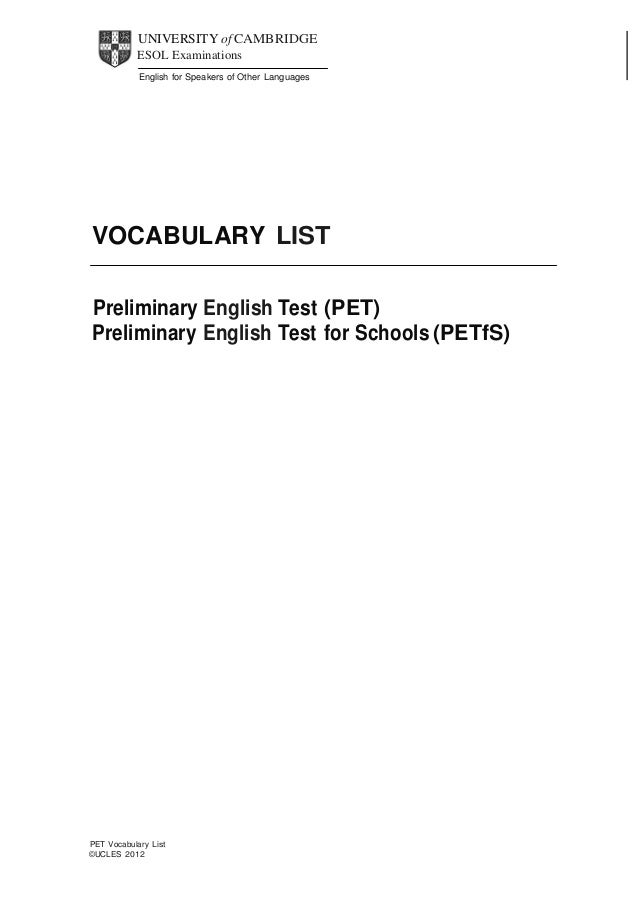 UNIVERSITY of CAMBRIDGE ESOL Examinations  English for Speakers of Other Languages                 VOCABU...