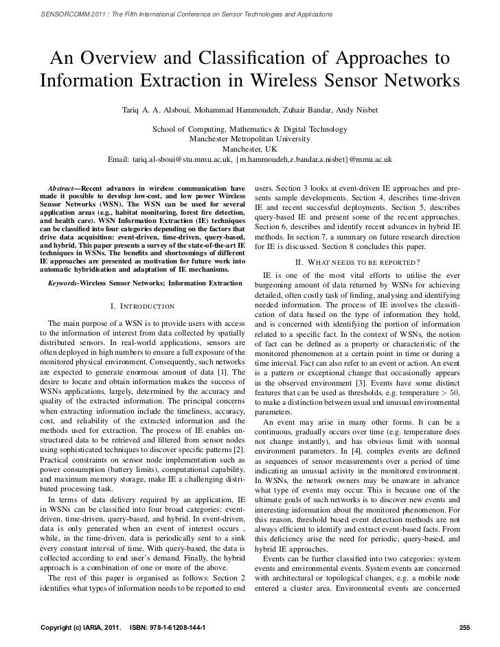 An Overview and Classification of Approaches to Information Extraction in Wireless Sensor Networks