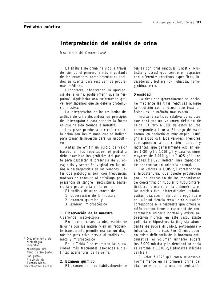 Arch.argent.pediatr 2002; 100(2) /   179Pediatría práctica                        Interpretación del análisis de orina    ...