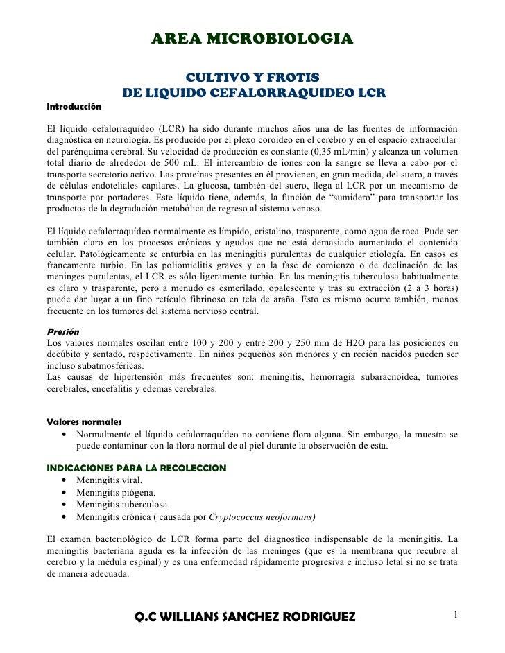 AREA MICROBIOLOGIA                           CULTIVO Y FROTIS                   DE LIQUIDO CEFALORRAQUIDEO LCRIntroducción...