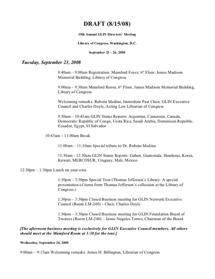 DRAFT (8/15/08)                                 15th Annual GLIN Directors' Meeting                                 Librar...