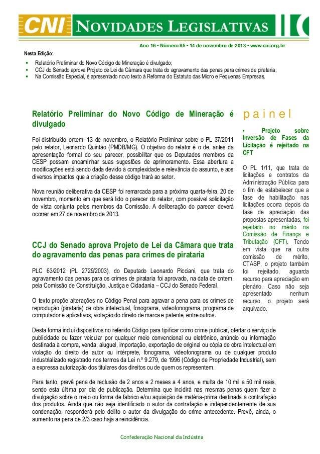 Novidades Legislativas Nº85 | 14/11/2013