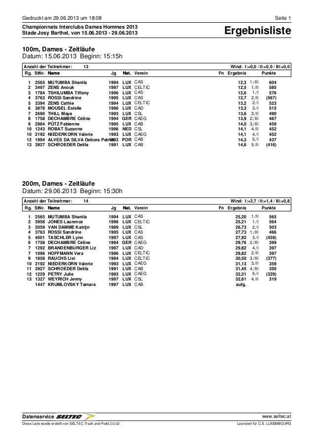 Gedruckt am 29.06.2013 um 18:08 Seite 1 Championnats Interclubs Dames Hommes 2013 ErgebnislisteStade Josy Barthel, von 15....