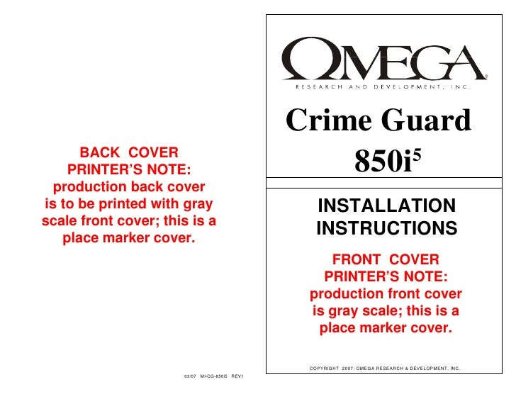 Crime Guard       BACK COVER     PRINTER'S NOTE:                                850i5   production back cover is to be pri...