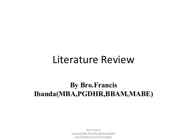 Mba literature review