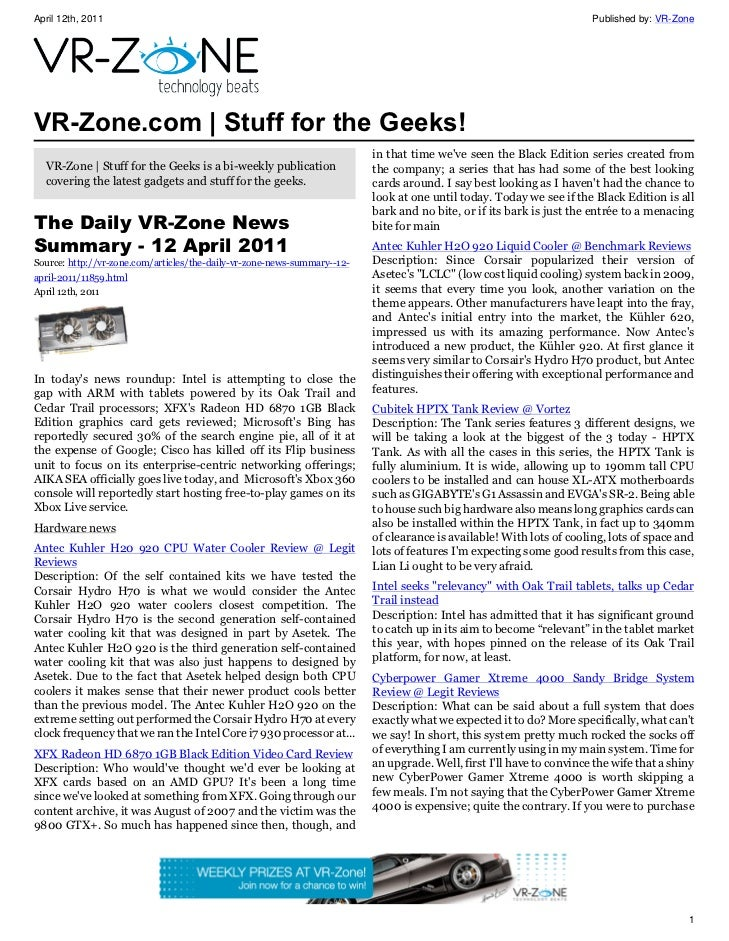 VR-Zone Technology News | Stuff for the Geeks! Issue #20