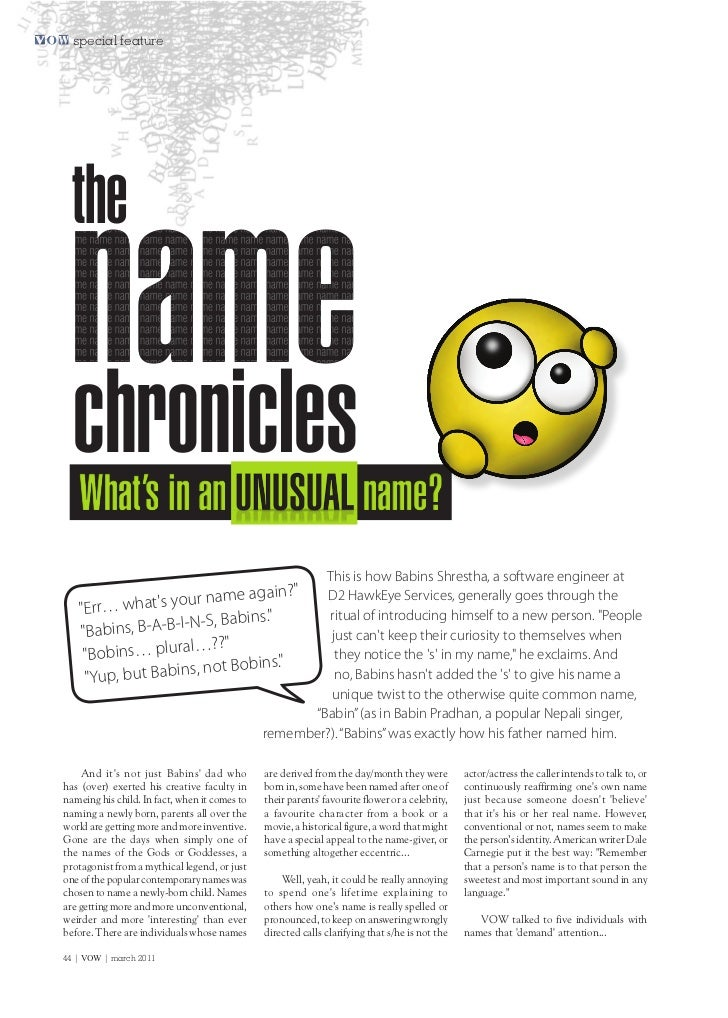special feature  the name chronicles   What's in an                                                         name?         ...